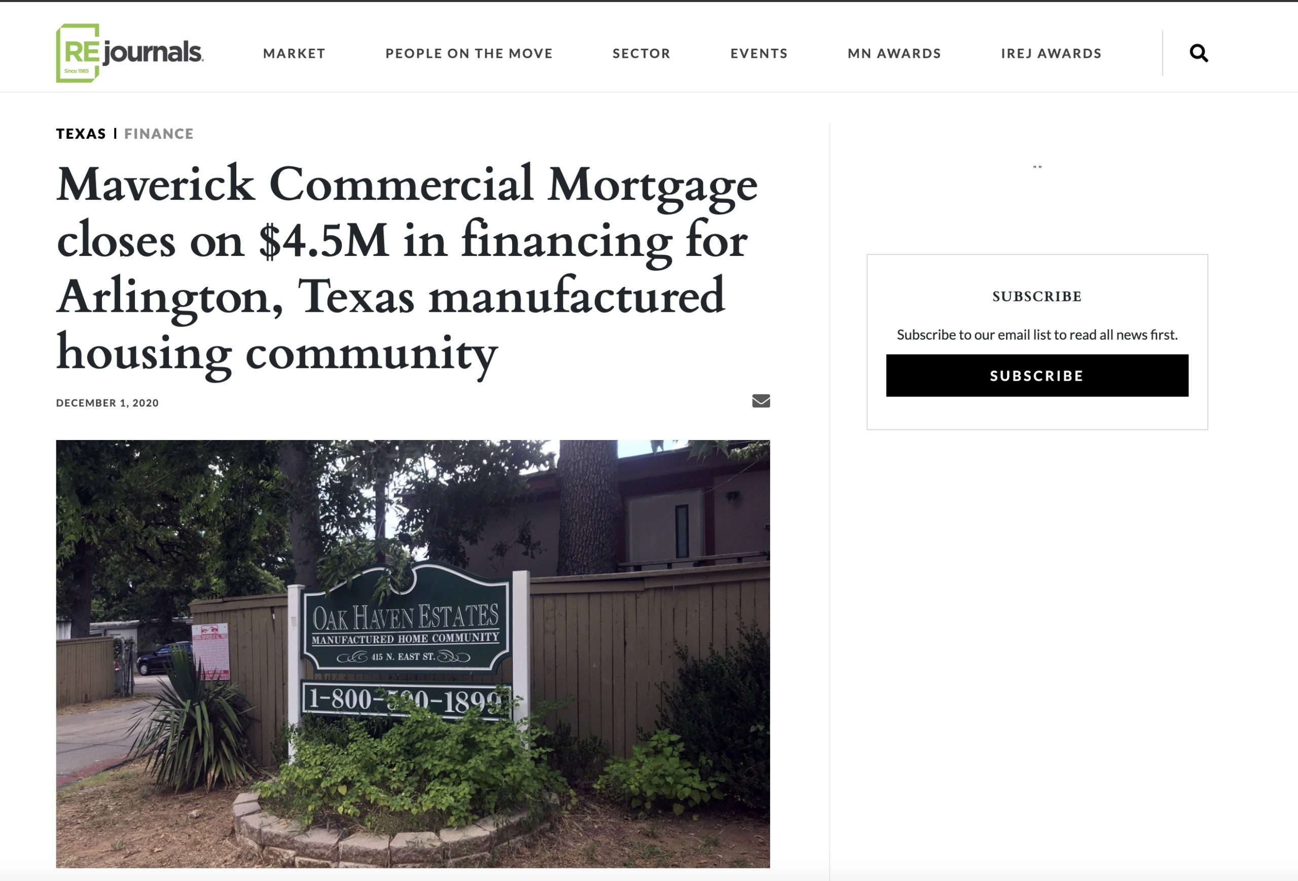 Maverick Commercial Mortgage closes on $4.5M in financing for Arlington, Texas manufactured housing community