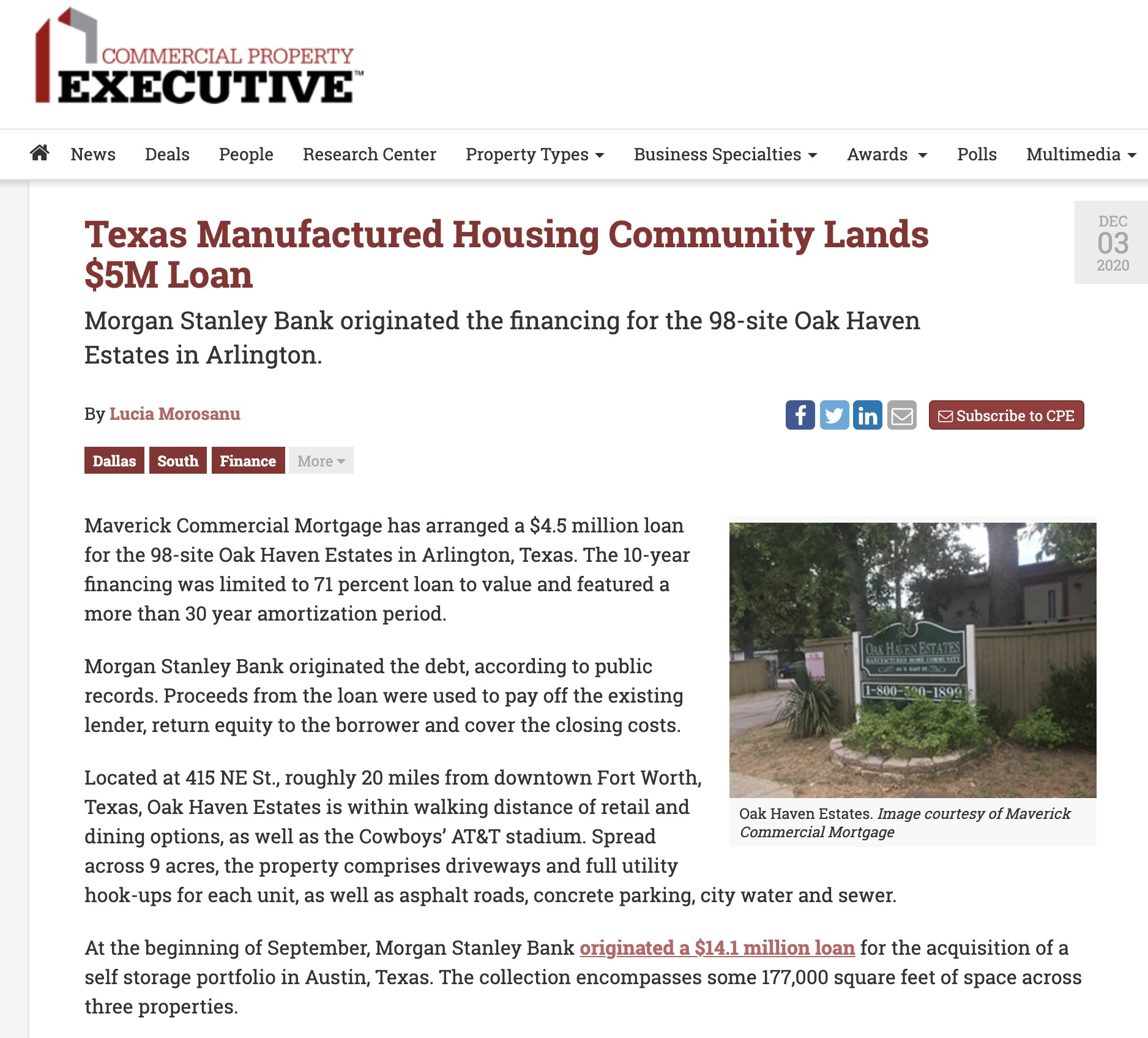 Texas Manufactured Housing Community Lands $5M Loan