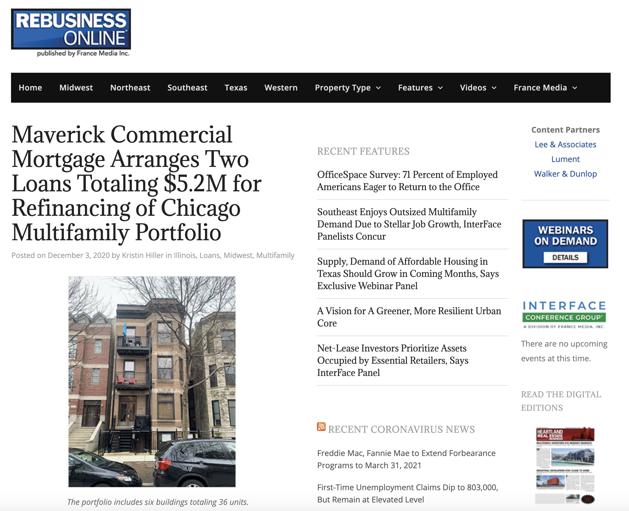 Maverick Commercial Mortgage Arranges Two Loans Totaling $5.2M for Refinancing of Chicago Multifamily Portfolio