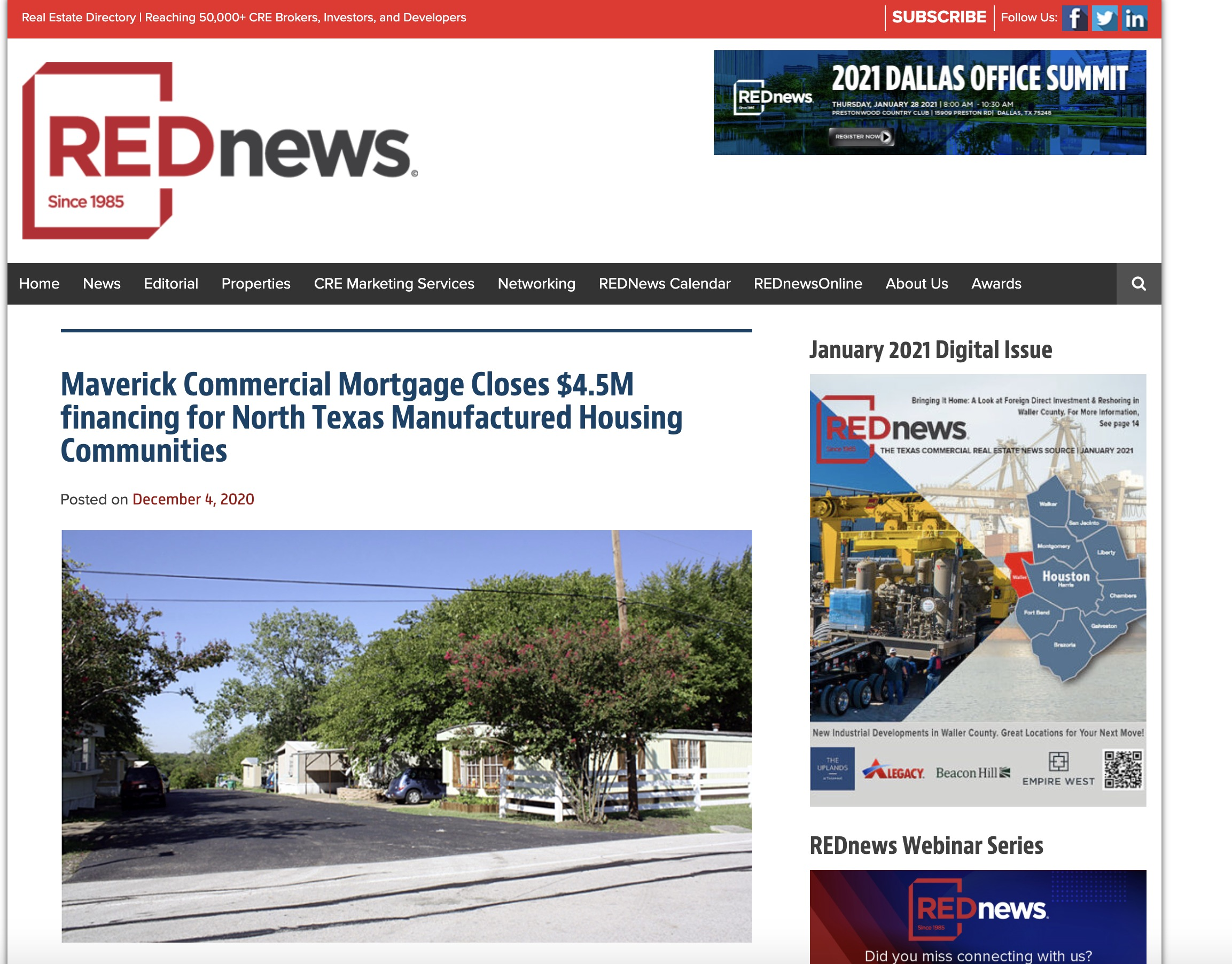 Maverick Commercial Mortgage Closes $4.5M financing for North Texas Manufactured Housing Communities
