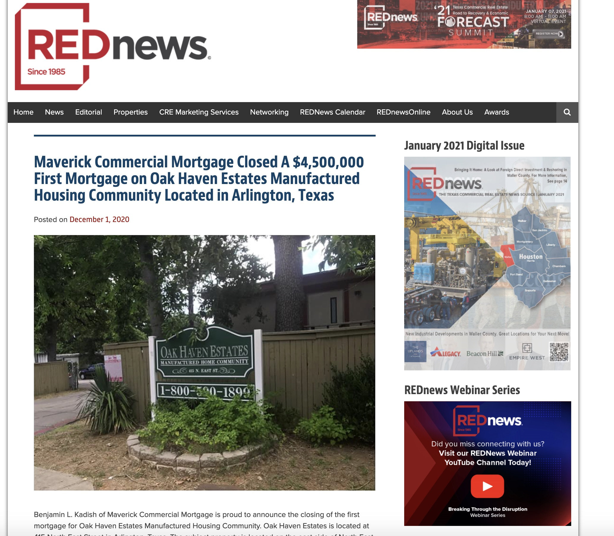 Maverick Commercial Mortgage Closed A $4,500,000 First Mortgage on Oak Haven Estates Manufactured Housing Community Located in Arlington, Texas-arlington-texas/